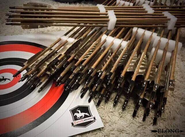 纯碳箭 真羽沉香木纹花羽 6.2纯碳箭 ELONG碳箭 美猎传统反曲弓箭