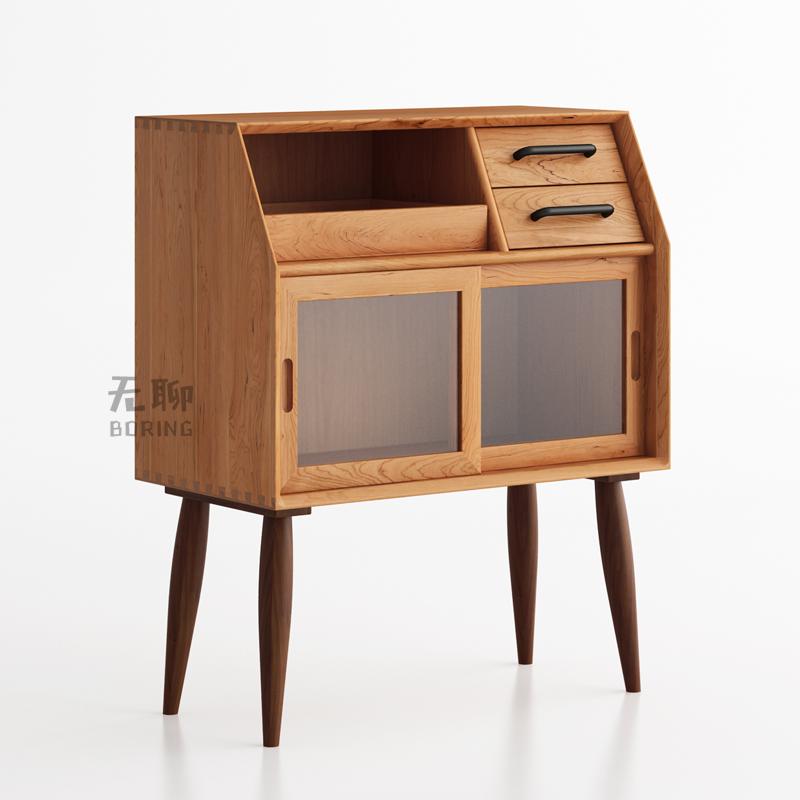[无聊/密斯小边柜]北欧经典实木樱桃木家具餐边柜床头柜玻璃柜