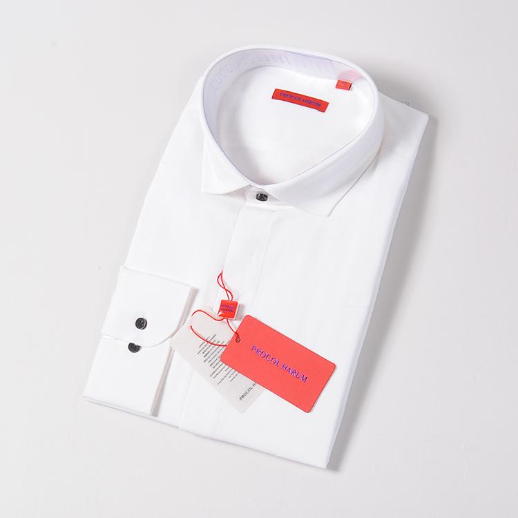 普洛克2019年秋季棉+亚麻白色衬衫