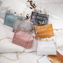 包邮女包2019夏季子母包透明包单肩斜跨手提包印字果冻包链条小包图片