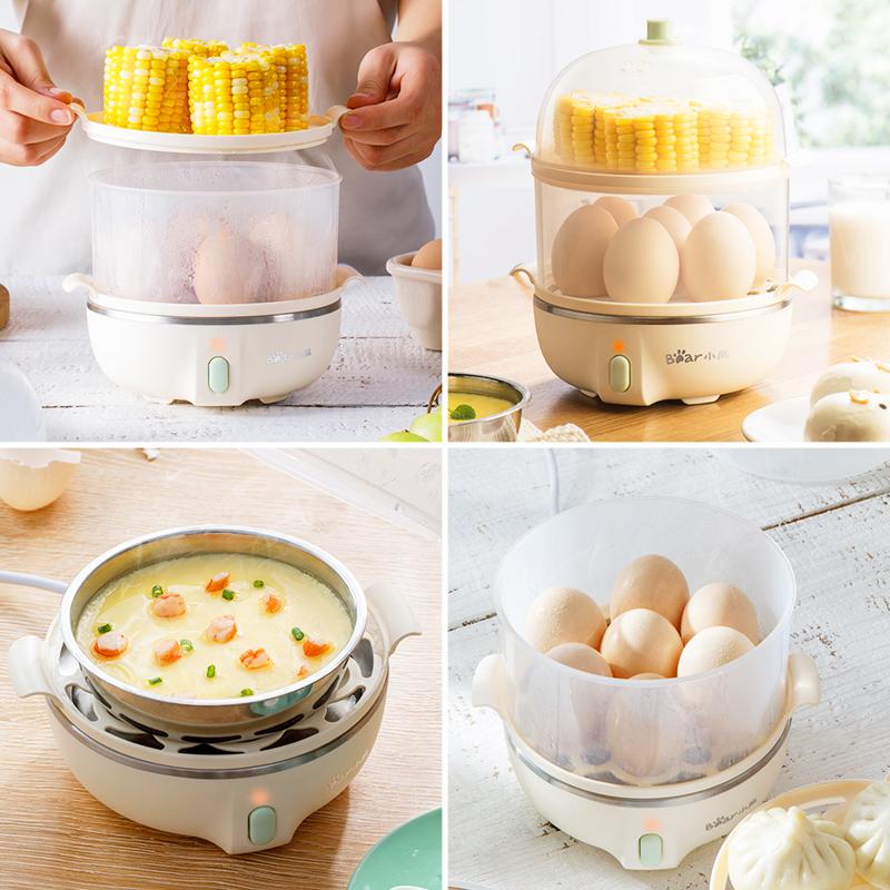小熊煮蛋蒸蛋器早餐机自动断电家用小型多功能1人迷你鸡蛋羹神器