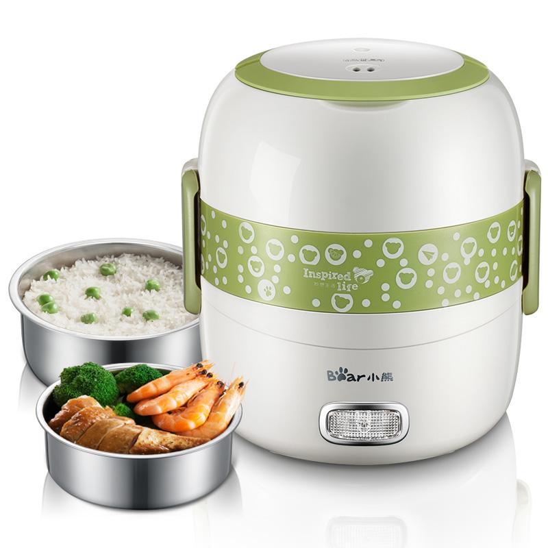 小熊電熱飯盒雙層可插電加熱保溫飯盒 迷你蒸飯器蒸煮飯盒熱飯器