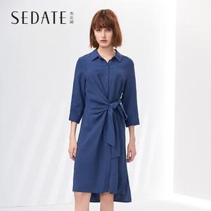 水云间翻领连衣裙女夏装新款收腰绑带不对称下摆七分袖中长裙