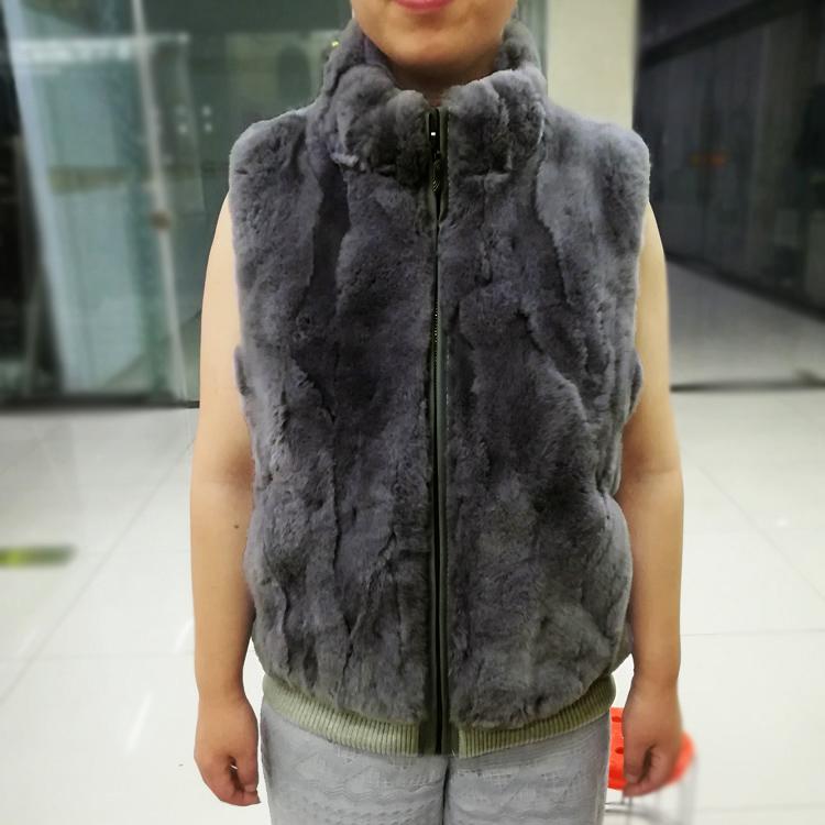 Autumn and winter new Rex Rabbit Fur grass Vest Large female fat sister sleeveless waistcoat short jacket collar