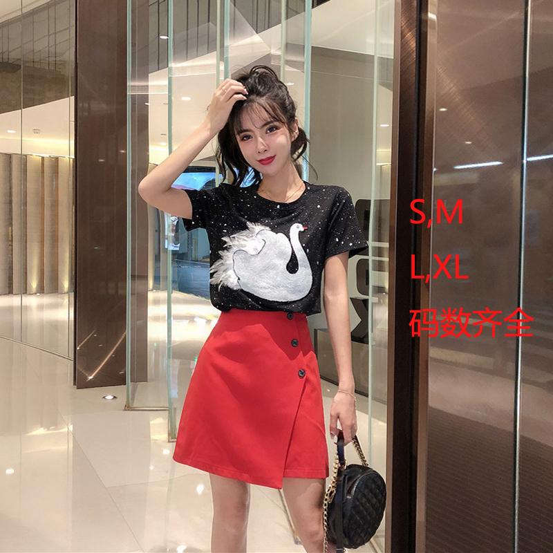 夏季时尚气质名媛小香风天鹅短袖不规则短裙洋气两件套实拍
