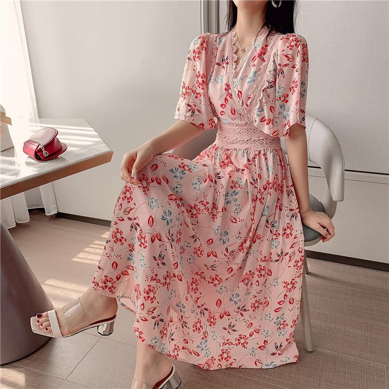 雪纺连衣裙夏2019新款流行洋气显瘦仙女裙超仙森系甜美实拍