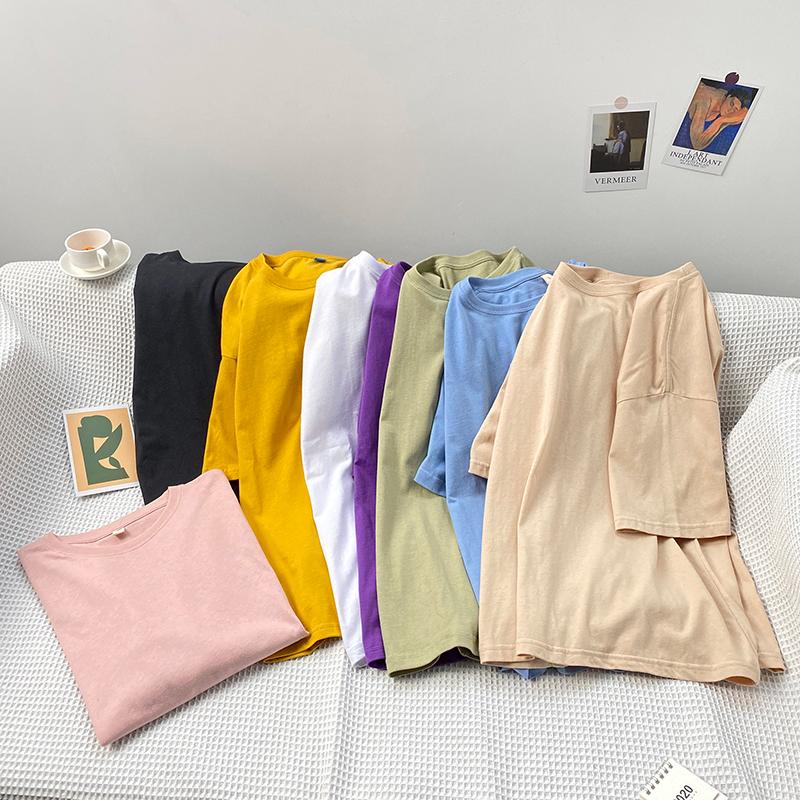 2020夏装热卖简约百搭多色圆领短袖T恤休闲半截袖上衣T521P15