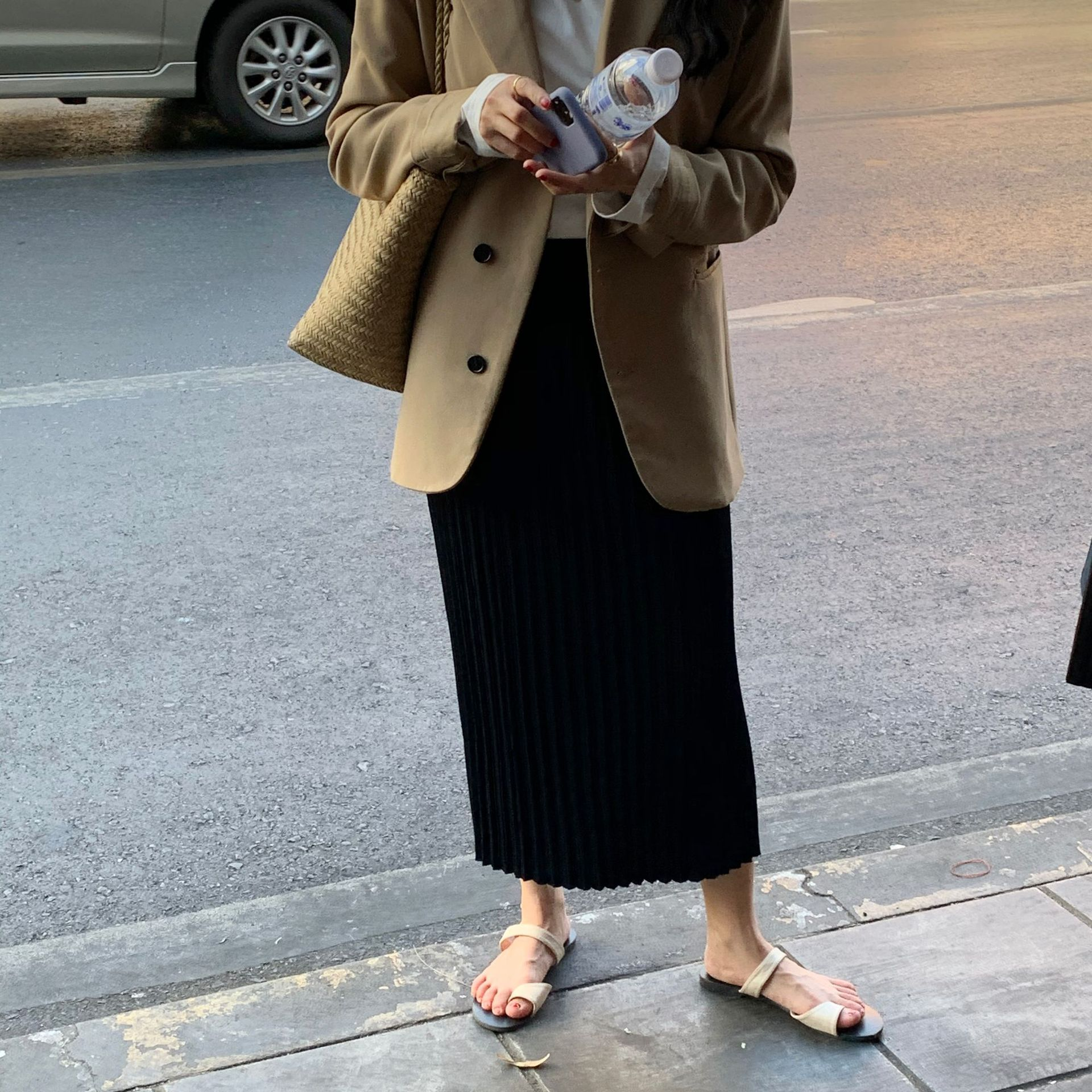 亲肤百褶针织半身裙2020春季质感长款高腰显瘦长裙法式高级感女装