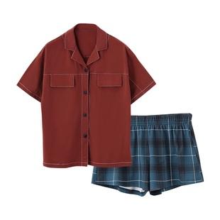 同語夏季情侶睡衣女純棉短袖韓版可愛薄款男士全棉家居服兩件套裝