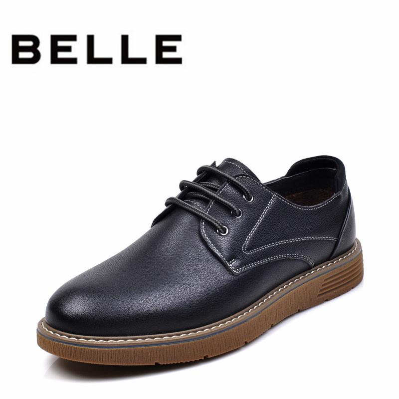 Belle/百丽男鞋春季单鞋英伦透气吸汗休闲耐磨底防滑软底舒适皮鞋