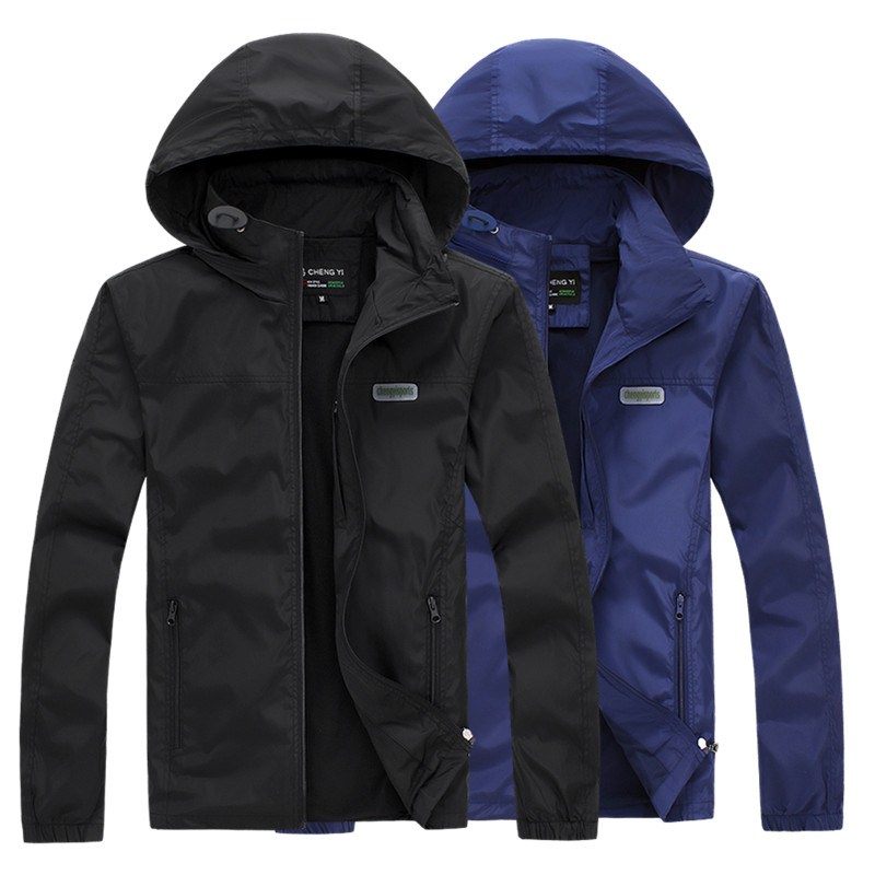 Young mens spring and summer wear Korean leisure sports fashion single jacket outdoor windproof folding hooded thin coat