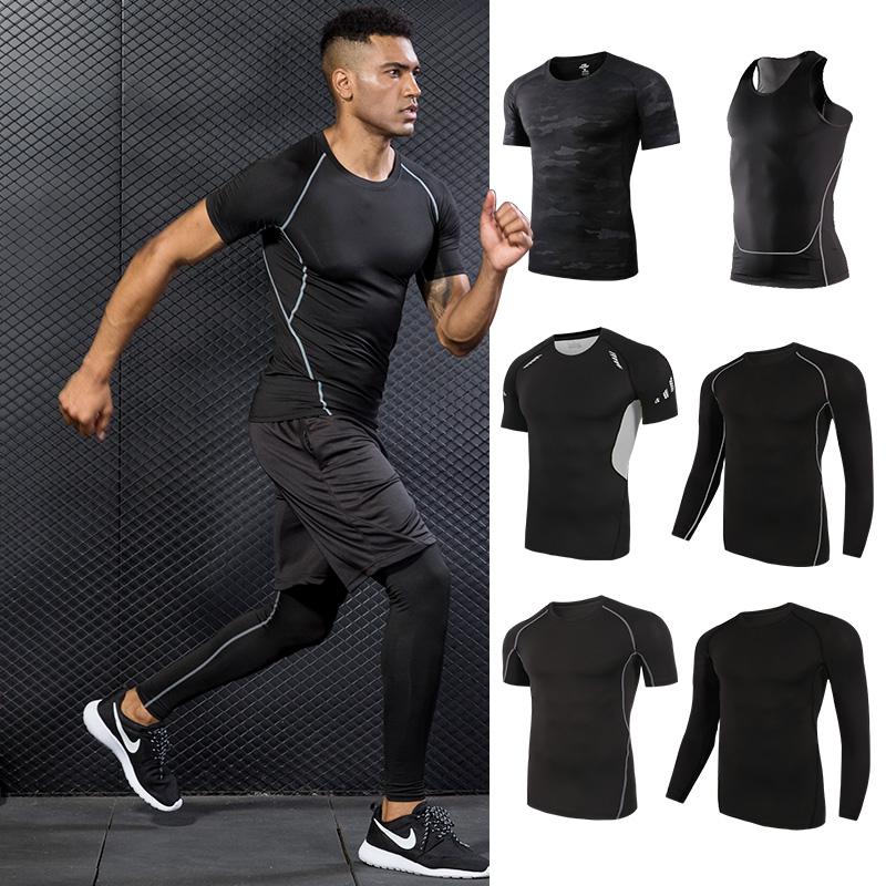 紧身衣男短袖运动上衣跑步半袖速干背心健身t恤高弹篮球吸汗衣服