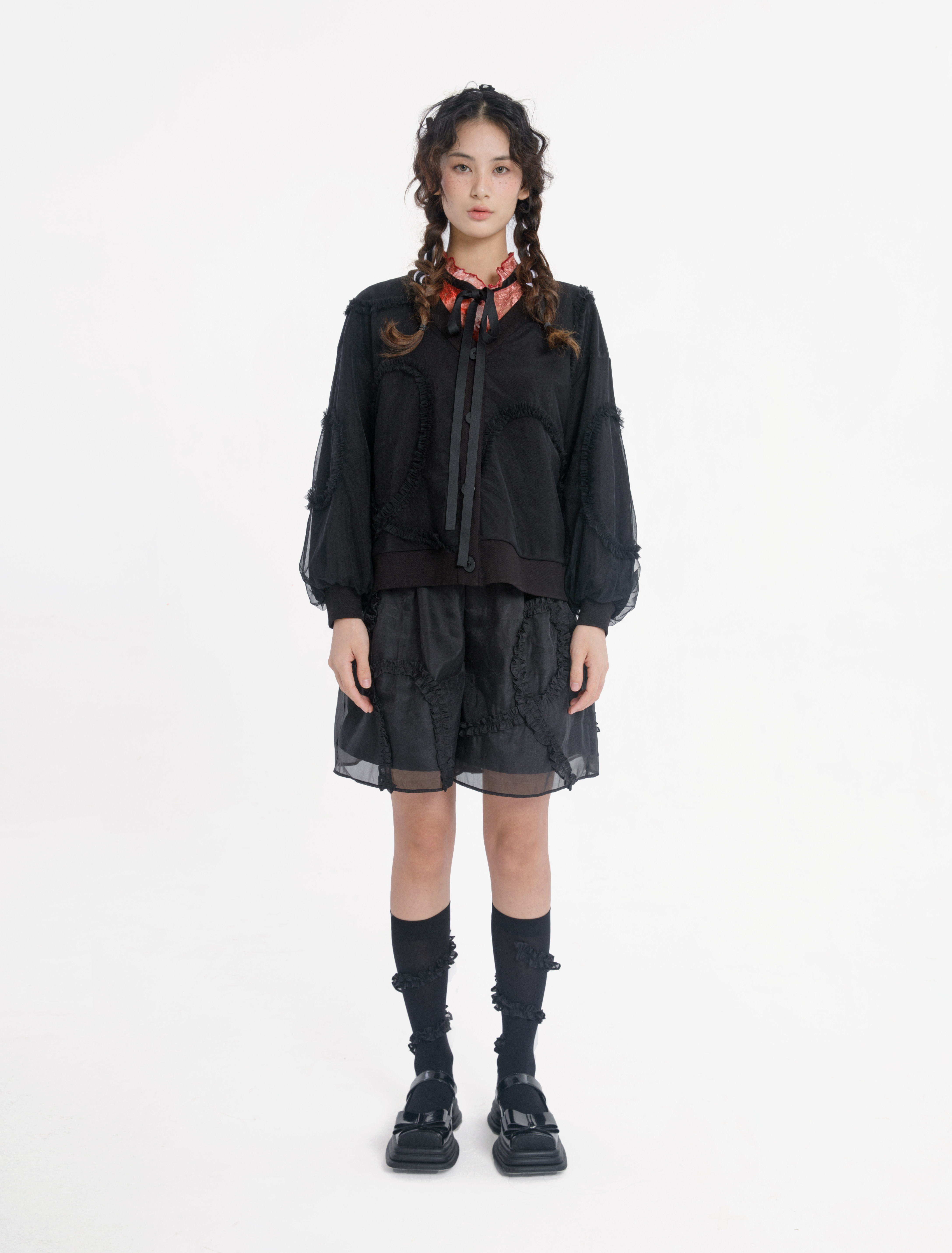 duetty2021秋季新款法式荷叶边设计感双层罩纱拼接外套夹克