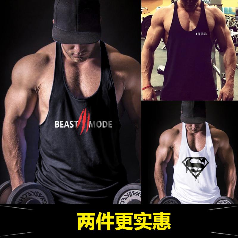 健身背心男宽松肌肉健美运动吊带工字训练简约背心T恤吸汗肌肉男
