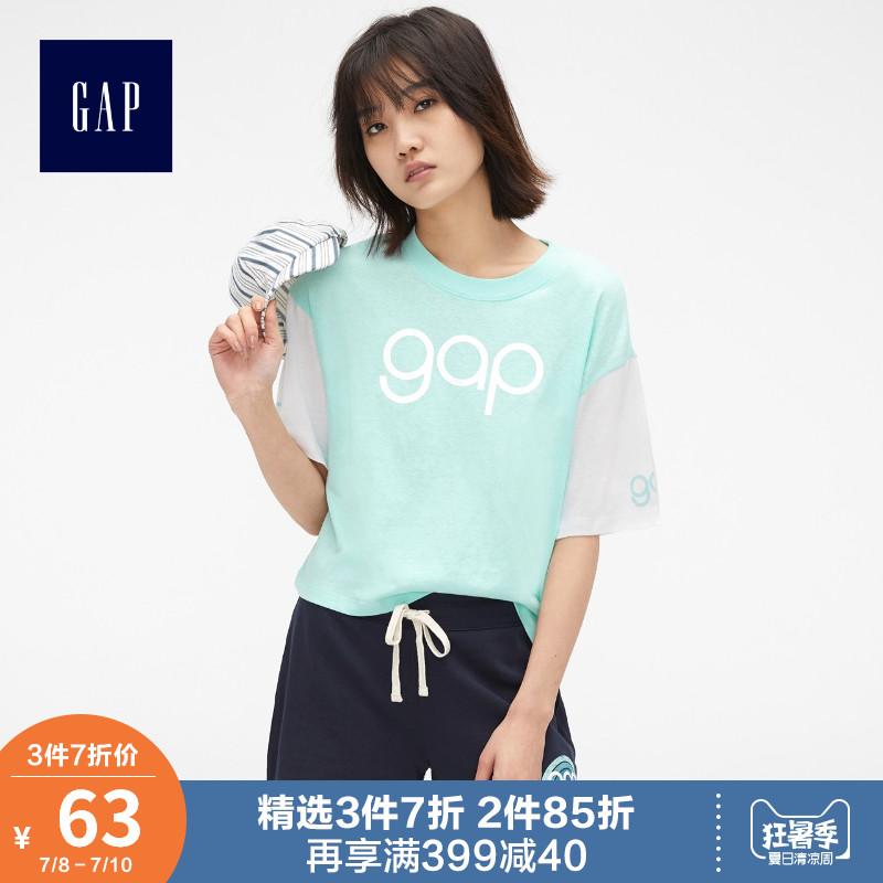 蔡依林明星同款Gap女装短袖T恤470913-2 2019新款纯棉logo上衣女
