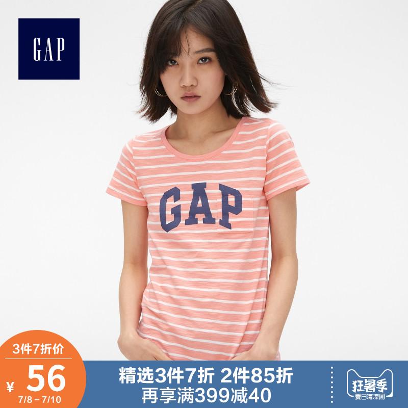 Gap女装纯棉短袖T恤夏季464043 E 2019新款女士logo口袋圆领上衣