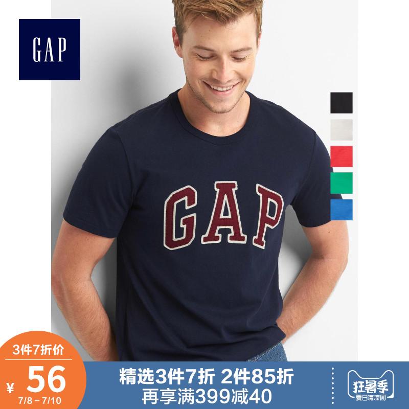 Gap男装纯棉夏季短袖T恤639065-4 圆领美式logo上衣宽松衣服男潮