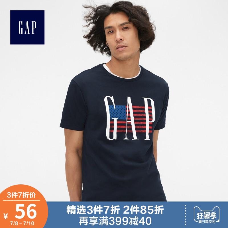 Gap男装纯棉短袖T恤夏季465156 E 2019新款logo上衣男印花情侣装