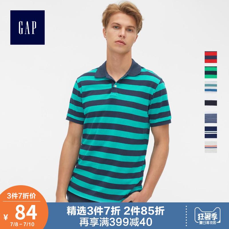 Gap男装条纹短袖Polo衫夏季440726 2019新款翻领上衣男士美式T恤