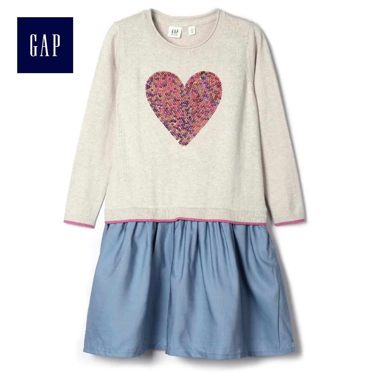 Gap девочки уютный блестки украшенный украшения вязание платье 922496
