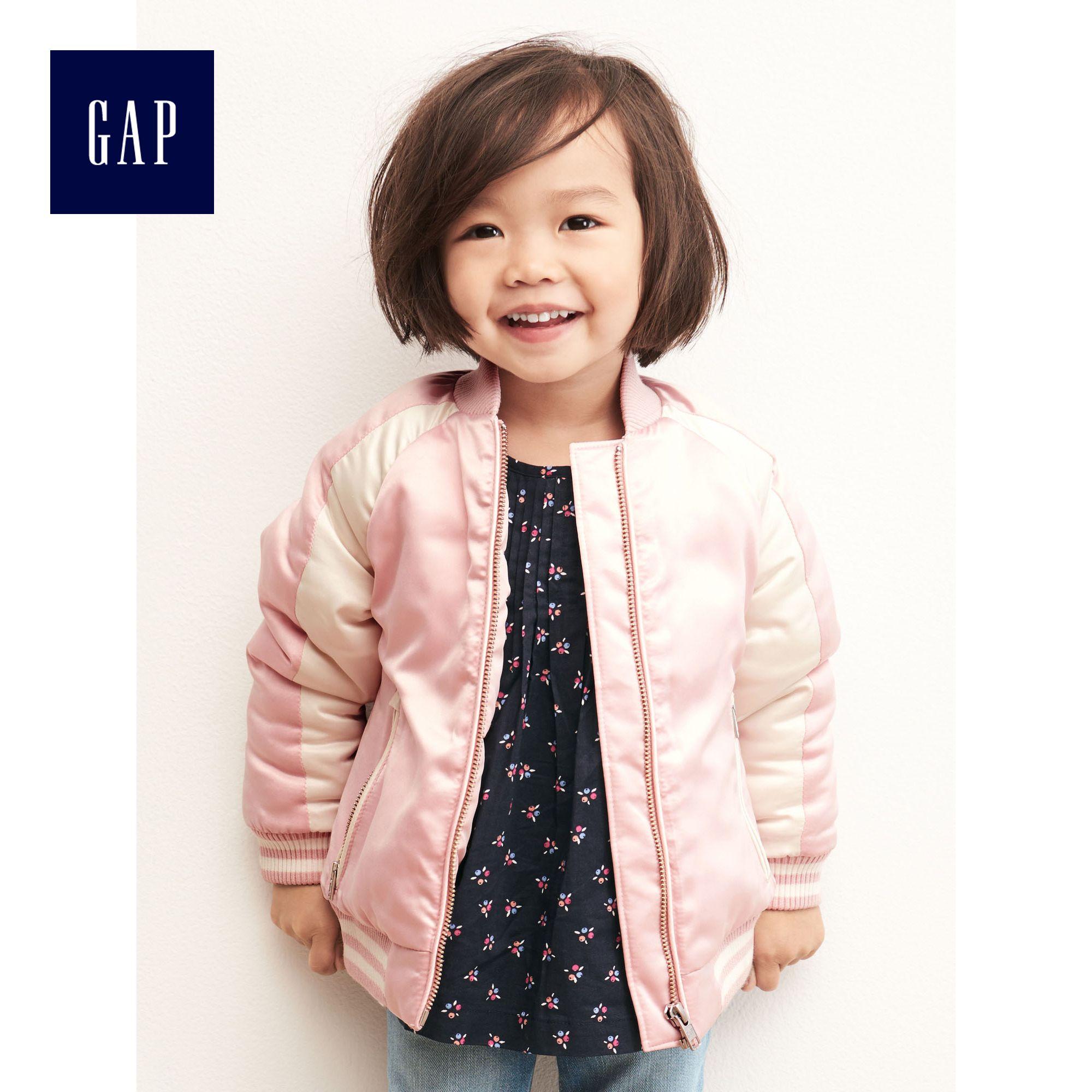Gap女幼童 拚接 棒球夾克 小童寬鬆棒球服短款上衣 233415 M2