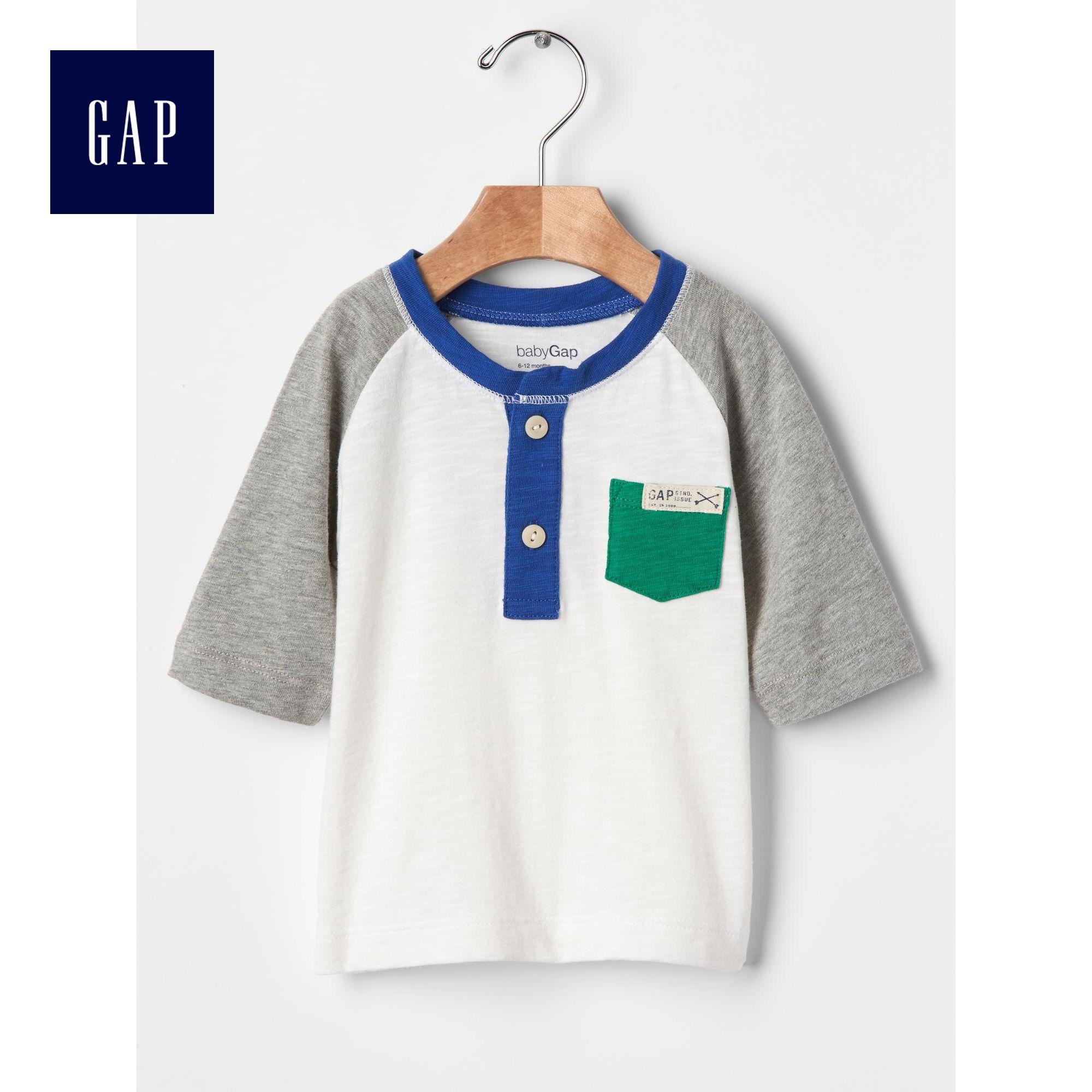 Gap男嬰兒 活力拚接 亨利領短袖T恤231115