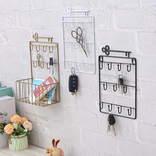 进门门口装饰钥匙挂钩玄关门厅墙上置物架收纳盒挂墙挂钥匙架壁挂