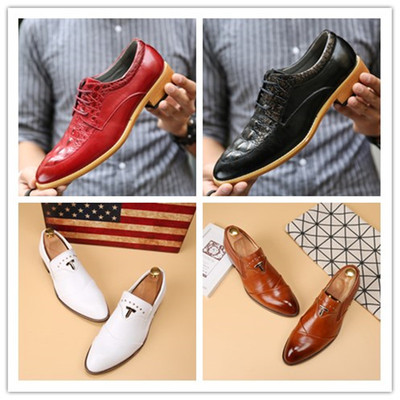 Korean version of the tip of the small leather shoes British casual hairdresser men's white tide nightclub men's wedding shoes studio