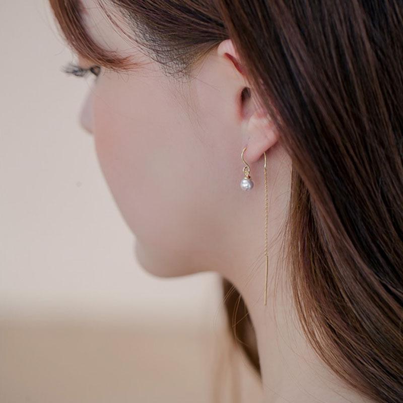 小清新仙气流苏母贝珍珠S925纯银耳环气质简约耳坠约会日韩礼物女
