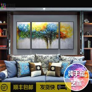 吉祥樹純手繪現代簡約抽象畫客廳沙發墻歐式寓意裝飾畫三聯油畫