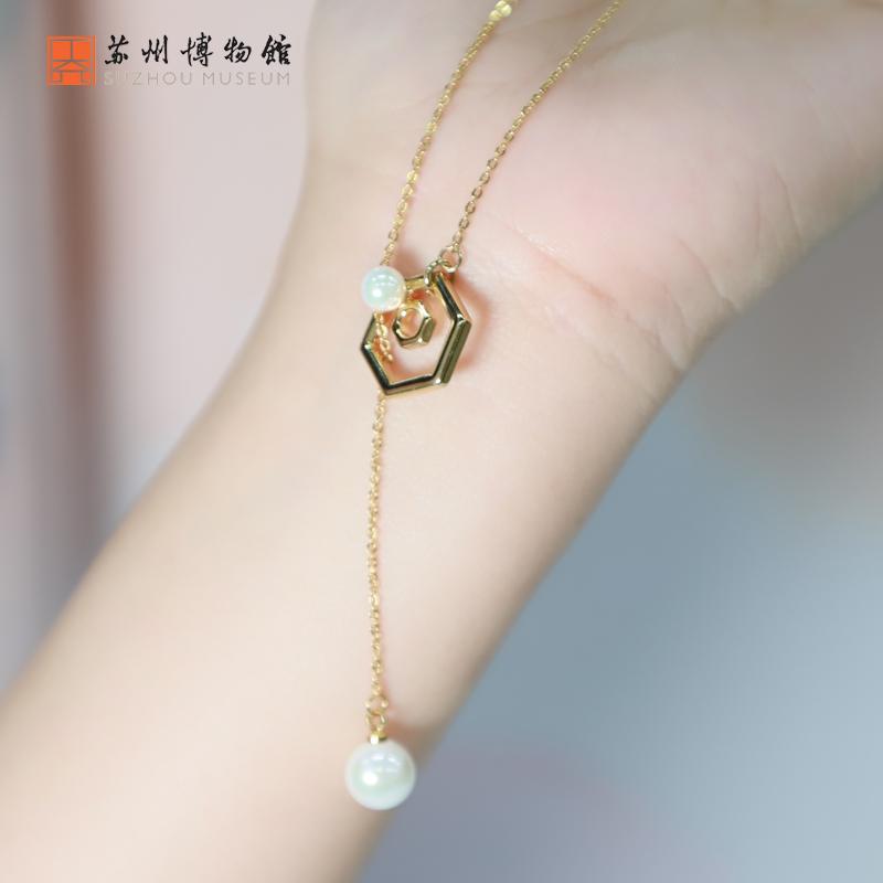 六角花窗珍珠镀金长项链时尚可调节古风女生送礼饰品苏州博物馆