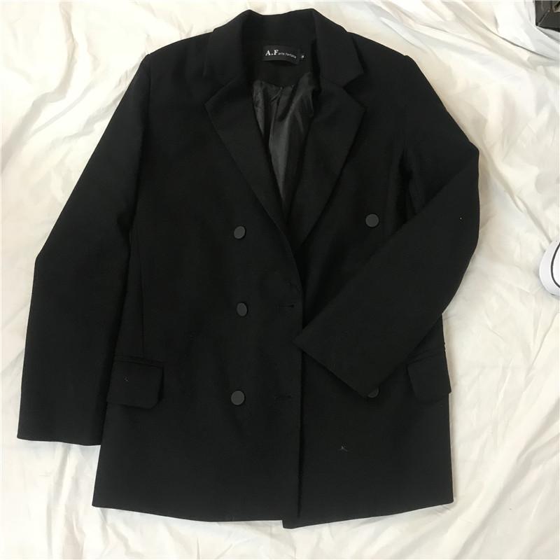 2020年初春新款纯色修身长袖双排扣西装领短外套春款休闲OL职业女