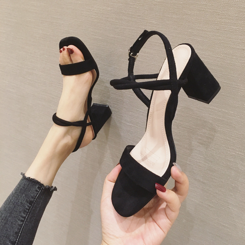 2021 summer new thick heel square high heel shoes versatile Korean suede back open toe one line sandals womens shoes