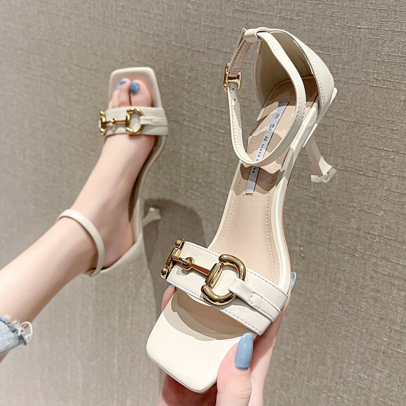Medium heeled sandals womens thick heeled summer open toe high heeled shoes simple one line with square head thin heel metal buckle womens shoes