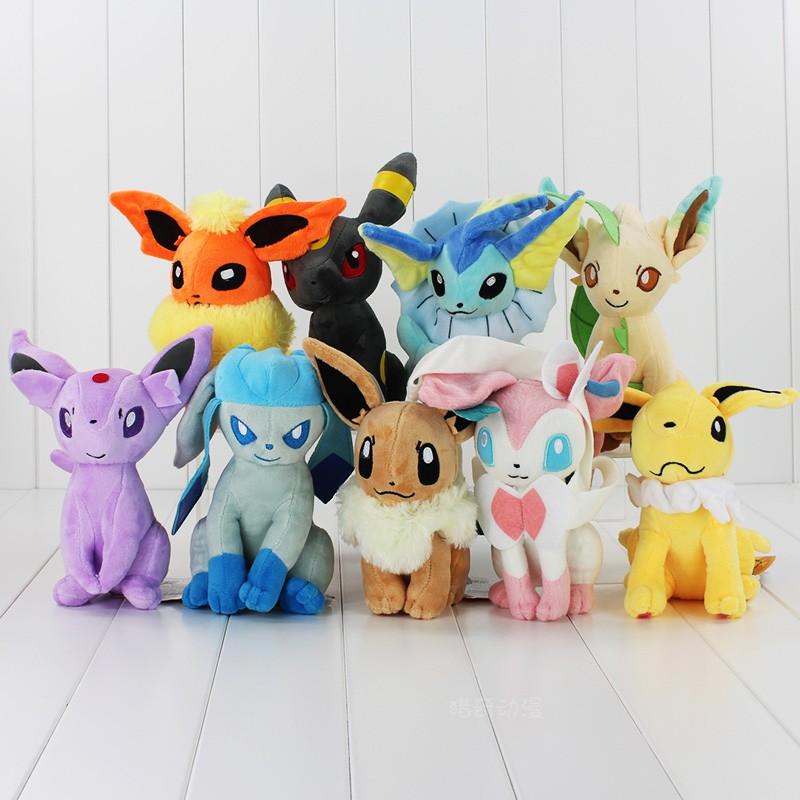 寵物小精靈口袋妖怪神奇寶貝九款坐伊布仙伊貝毛絨公仔玩具布娃娃
