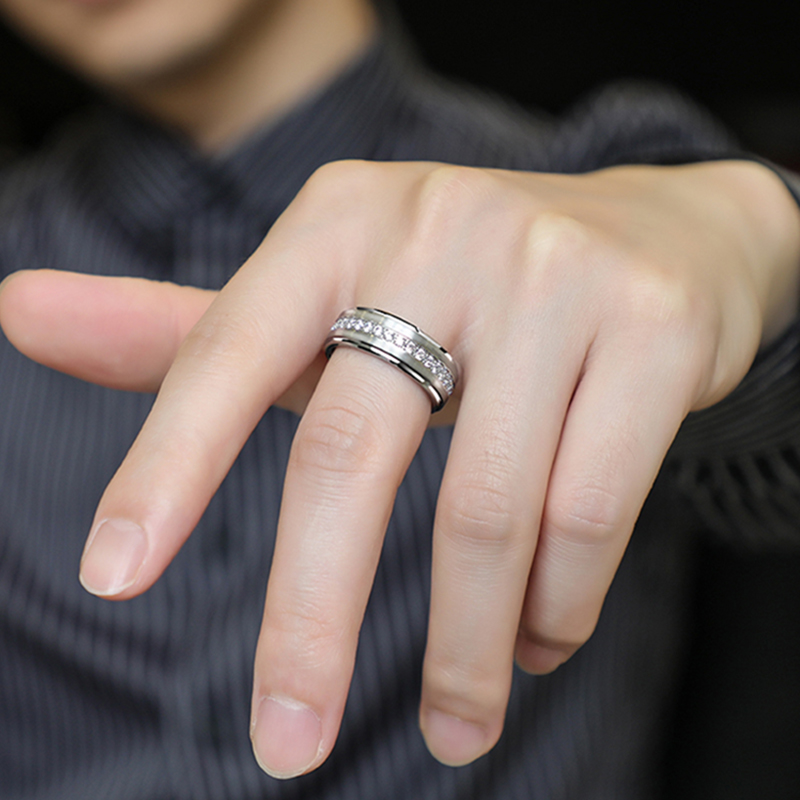 Saya full diamond ring for men's transport index finger single ring for personality ring tide all over the sky star turning male ring