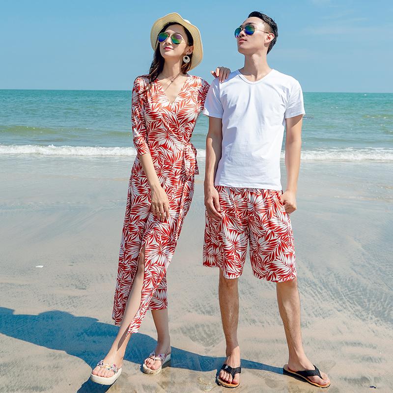券后128.00元沙滩情侣装套装蜜月旅行海边度假长裙显瘦连衣裙夏季裹身裙一片式