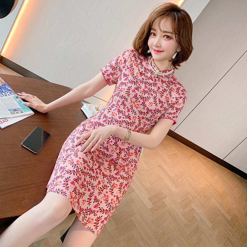 MIUCO复古小立领收腰显瘦短袖清新浪漫碎花连衣裙女装2020夏季新