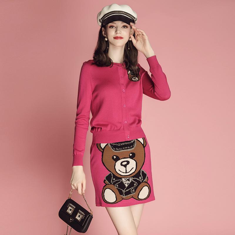 【26日0�c5折���】�L袖�_衫外套+小熊包臀半身裙��套�b