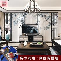 定制新中式装修刺绣客厅电视背景墙中国风壁画艺术装饰品护墙板子