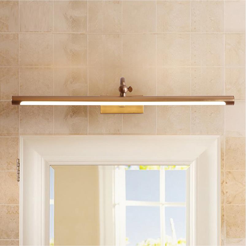 美式全铜镜前灯简约LED浴室柜卧室卫生间化妆镜灯欧式复古镜柜灯