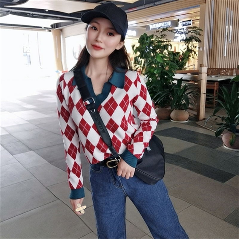 T-shirt Pullover V-neck 2021 spring new womens Retro jacquard small Lapel long sleeve bottomed sweater