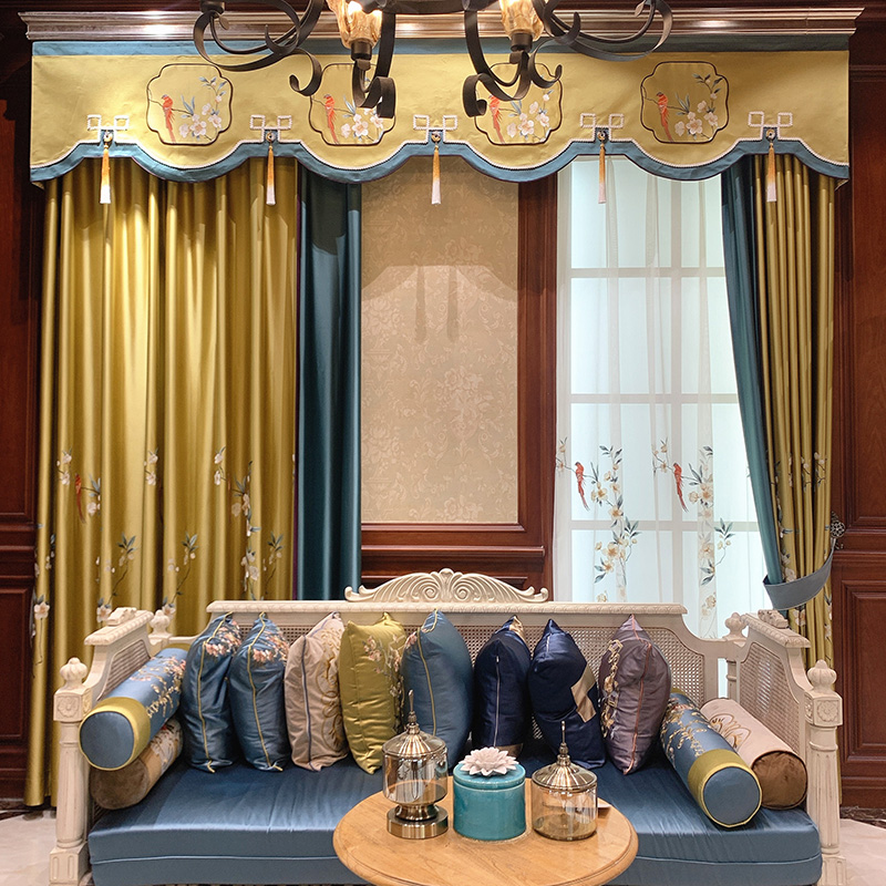 New Chinese curtain Chinese style living room luxury high-end embroidery Chinese style bedroom study villa curtain customization