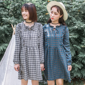 【实拍8998#】甜美的木耳边格子连衣裙