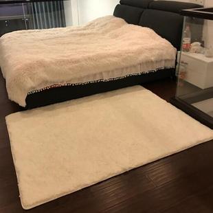 满铺床边短绒地垫 直播白色ins风客厅长毛毛地毯卧室少女网红同款