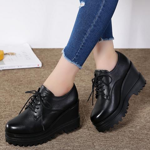 春秋季粗跟系带高跟 防水台韩版真皮深口单鞋女圆头工作 黑色