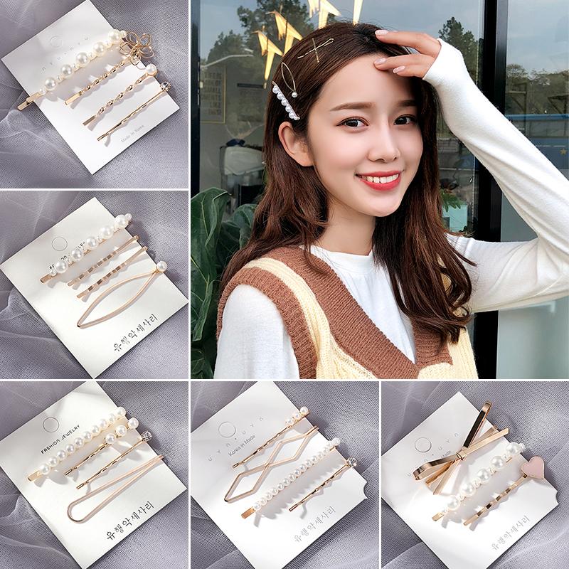 发夹女后脑勺韩国珍珠网红发卡刘海少女泫雅风夹子一字夹头饰边夹