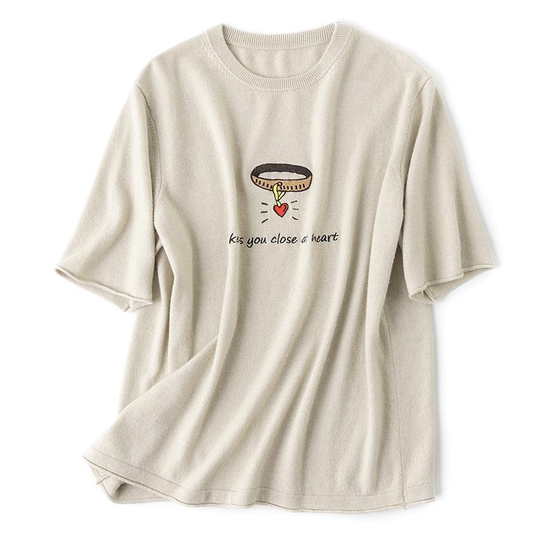 精品分享 意大利客户定制心型刺绣设计羊绒针织T恤衫