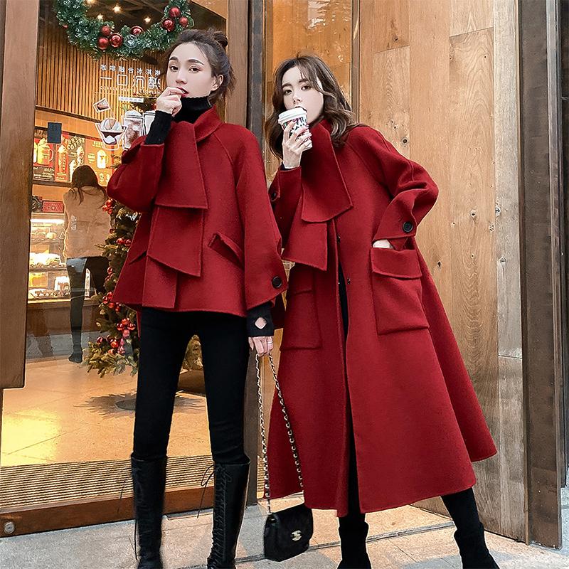 斗篷双面羊绒大衣女2020年春季新款赫本风小个子高端毛呢外套短款