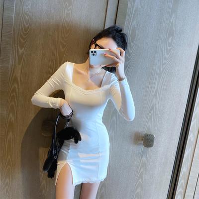 复古名媛性感U领小心机蕾丝花边弹力修身打底裙长袖开叉连衣裙子